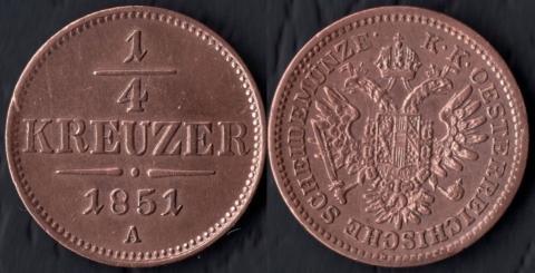 Австрия 1/4 крейцера 1851