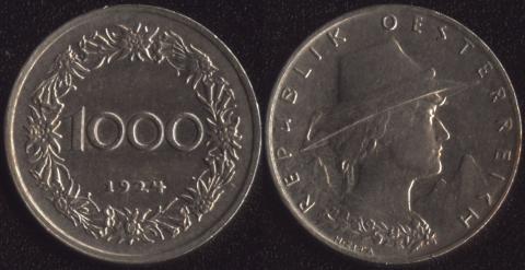 Австрия 1000 крон 1924