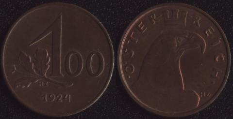 Австрия 100 крон 1924