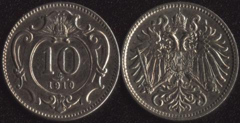 Австрия 10 хеллеров 1910