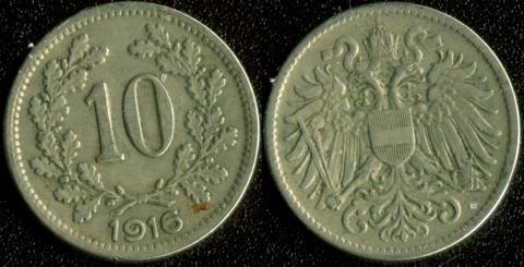 Австрия 10 хеллеров 1916