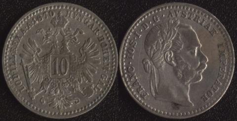 Австрия 10 крейцеров 1870
