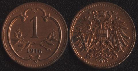 Австрия 1 геллер 1916