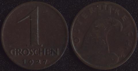 Австрия 1 грош 1927