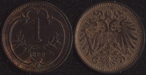 Австрия 1 хеллер 1893