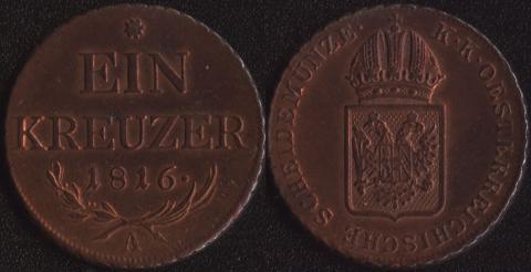 Австрия 1 крейцер 1816