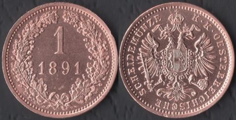 Австрия 1 крейцер 1891