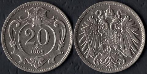 Австрия 20 хеллеров 1908