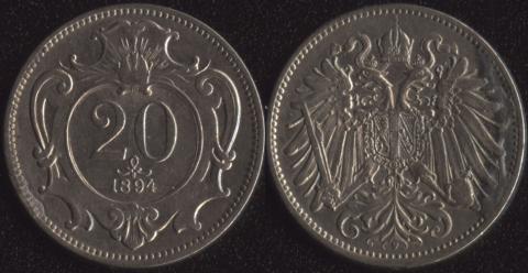 Австрия 20 хеллеров 1894