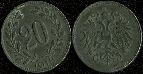 Австрия 20 хеллеров 1918