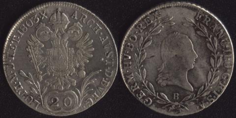 Австрия 20 крейцеров 1803