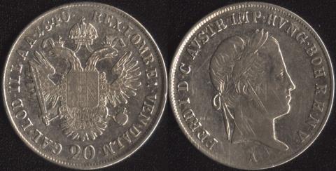 Австрия 20 крейцеров 1840