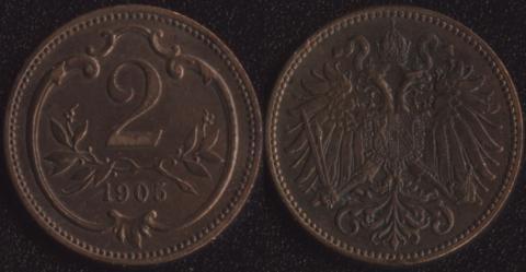 Австрия 2 хеллера 1905