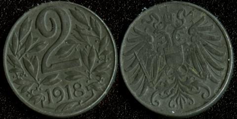 Австрия 2 хеллера 1918