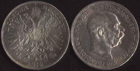 Австрия 2 короны 1912