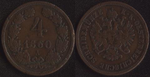 Австрия 4 крейцера 1860