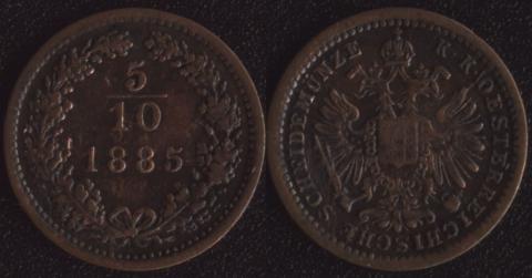 Австрия 5/10 крейцера 1885