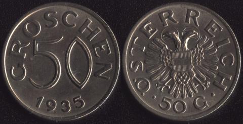 Австрия 50 грошей 1935