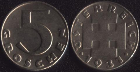 Австрия 5 грошей 1931