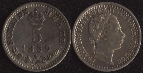 Австрия 5 крейцеров 1859