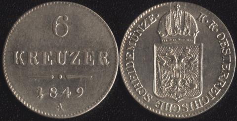 Австрия 6 крейцеров 1849