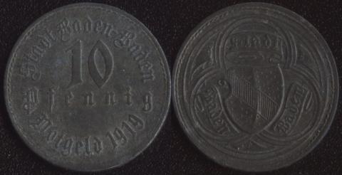 Баден-Баден 10 пфеннигов 1919