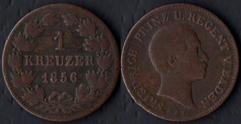 Баден 1 крейцер 1856 (РЕГЕНТ)