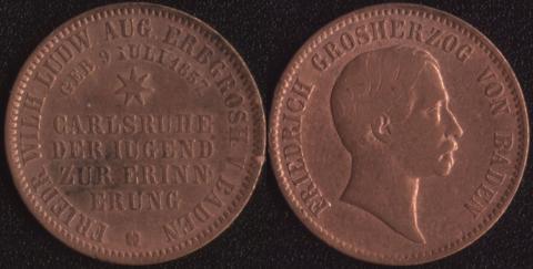 Баден 1 крейцер 1857