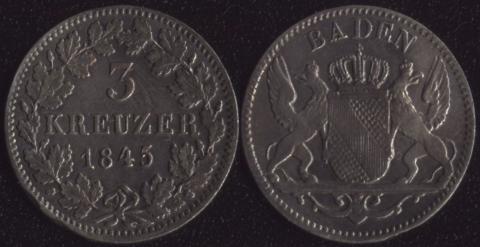 Баден 3 крейцера 1845
