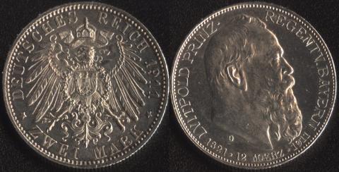 Бавария 2 марки 1911