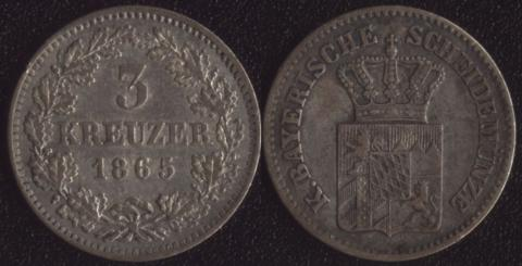 Бавария 3 крейцера 1865
