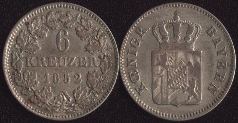 Бавария 6 крейцеров 1852