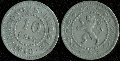 Бельгия 10 центов 1916