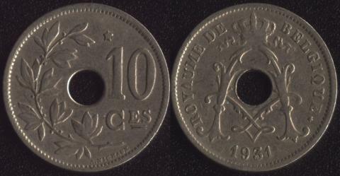Бельгия 10 сантим 1931 (французский)