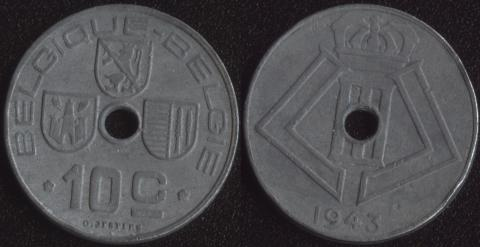 Бельгия 10 сантим 1943 французский