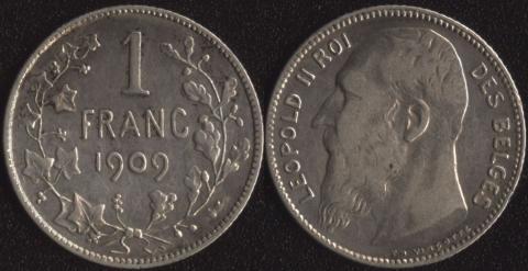Бельгия 1 франк 1909 французский