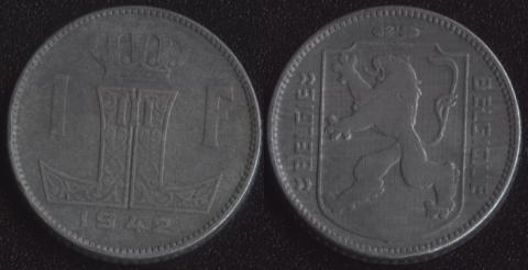 Бельгия 1 франк 1942 фламандский