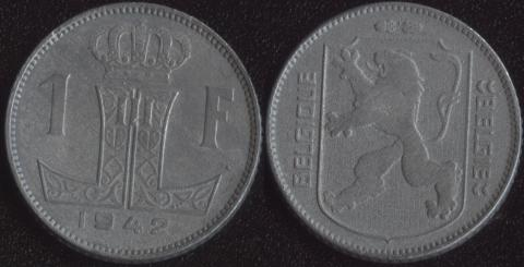 Бельгия 1 франк 1942 французский