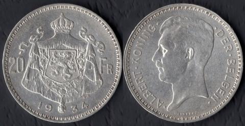 Бельгия 20 франков 1934 (фламандский)