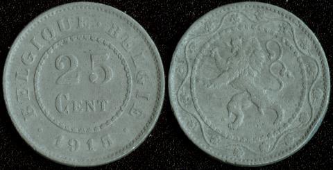 Бельгия 25 центов 1915