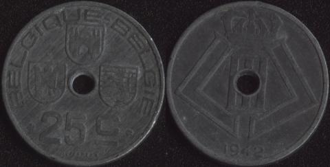 Бельгия 25 сантим 1942 французский