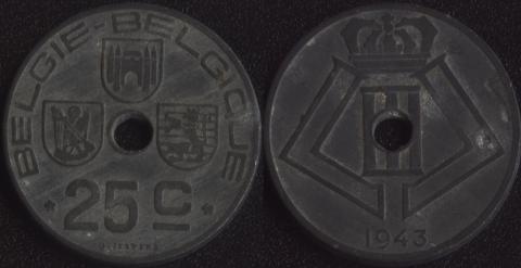 Бельгия 25 сантим 1943 фламандский