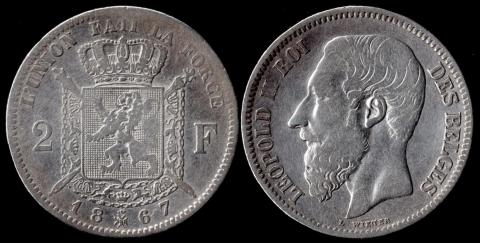 Бельгия 2 франка 1867