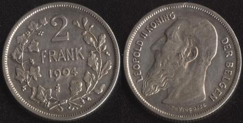 Бельгия 2 франка 1904