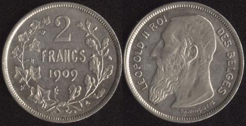Бельгия 2 франка 1909 (французский)