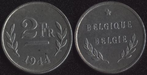 Бельгия 2 франка 1944 оккупация союзниками