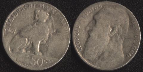 Бельгия 50 сантим 1901 фламандский