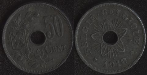 Бельгия 50 центов 1918