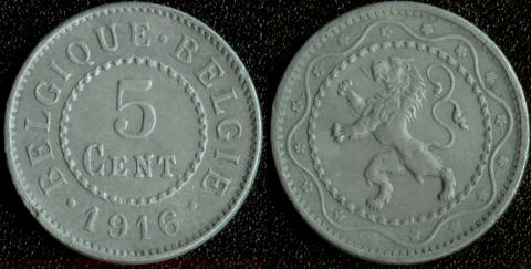 Бельгия 5 центов 1916