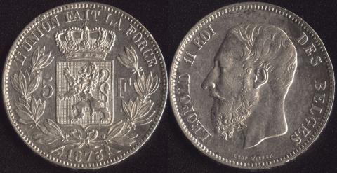 Бельгия 5 франков 1873